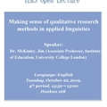 [IERS] Open Lecture #2 (October 22) Making Sense of Qualitative Research Methods in Applied Linguistics